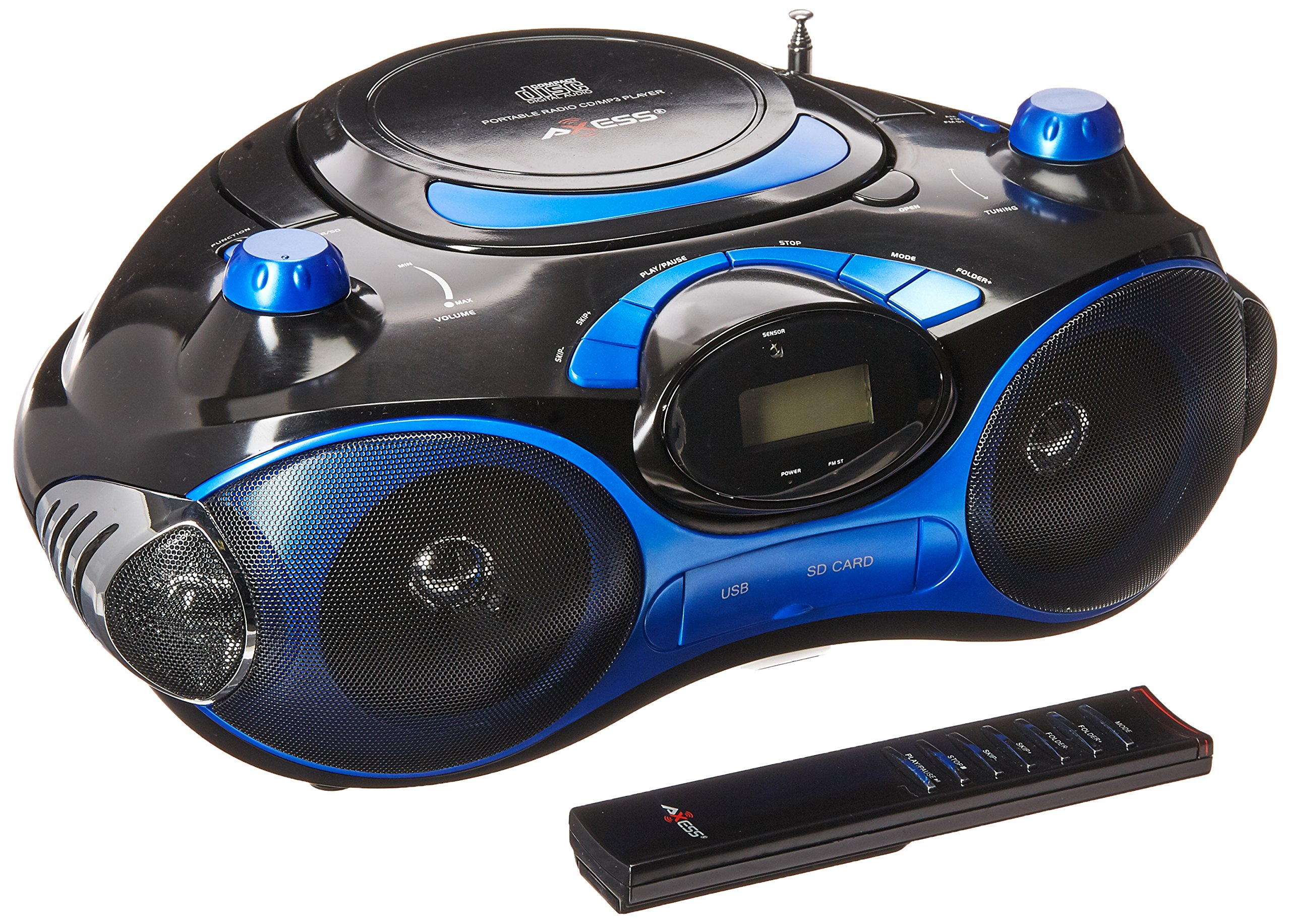 AXESS PB2704 Portable MP3/CD Boombox with AM/FM Stereo, USB, SD, MMC, AUX Inputs (Blue)