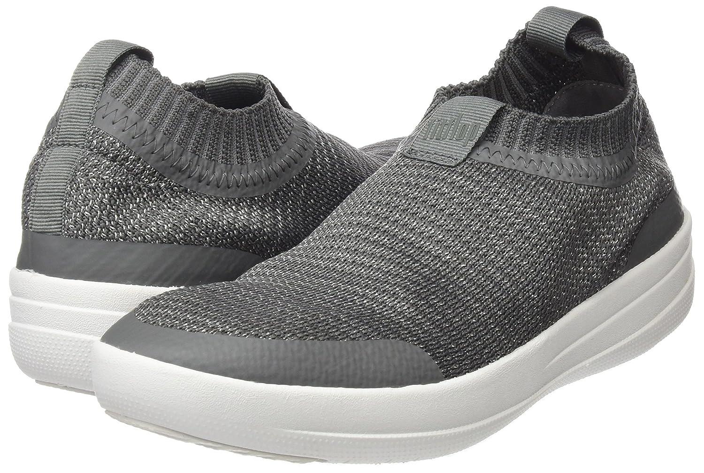 FitFlop Womens Uberknit Slip-On Sneakers B07663X65W 6 B(M) US Charcoal/Metallic Pewter