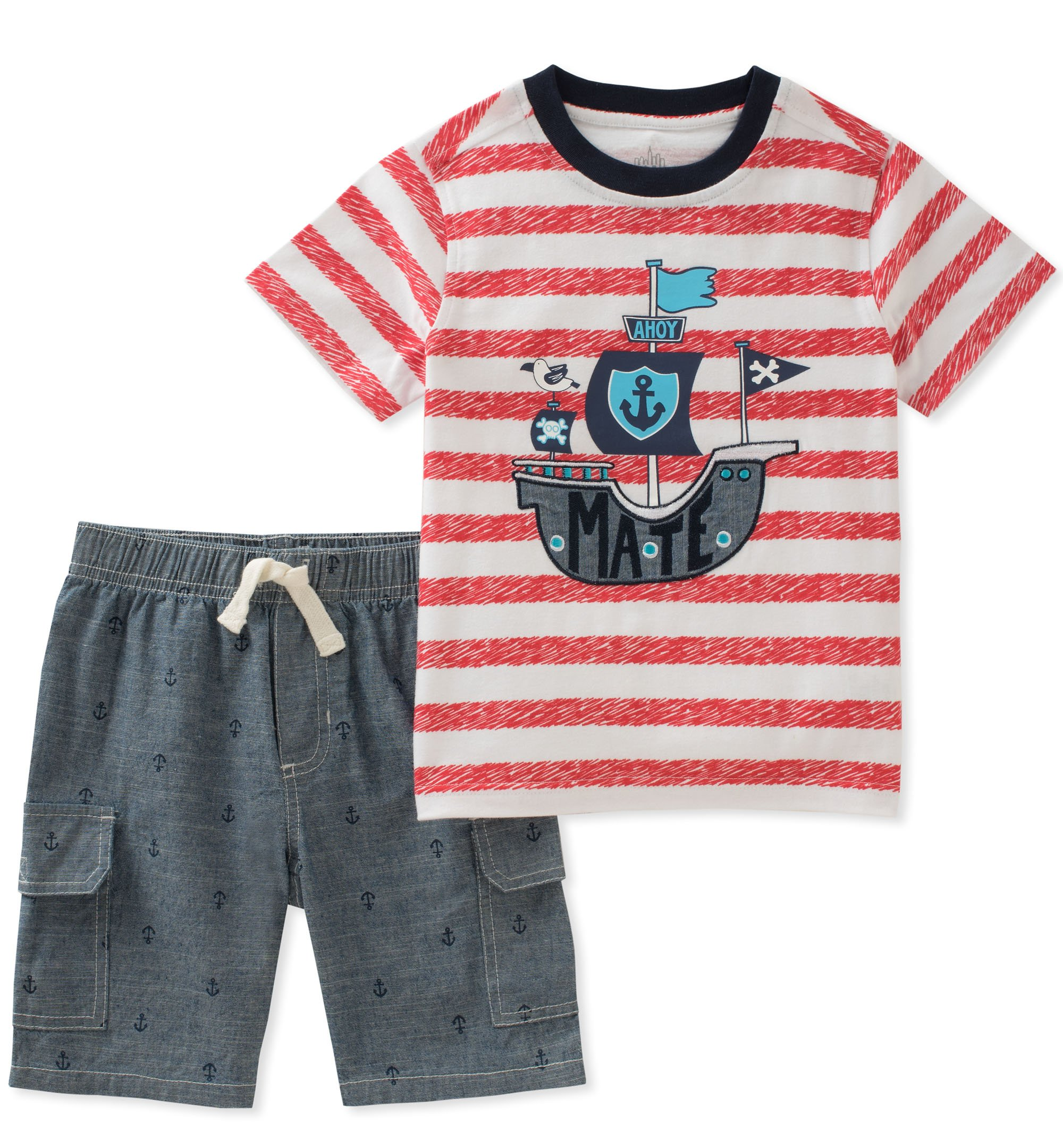 Kids Headquarters Toddler Boys' 2 Pieces Short Set, Red/White/Blue, 4T