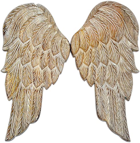 Javi Wooden Wings Wall Decor – 18.5 Inch Large Angel Flying Wing Pair Premium Wood Distressed Wall Mounted-Hanging Vintage Sculpture Home Decorations and Accents