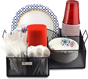 Eltow Plate and Cutlery Organizer with Handles: Large Kitchen Spoon, Fork, Knives and Cups Holder - Sturdy Bowl, Napkin and Tableware Dispenser - Home, Restaurant, BBQ and Picnic Plate Organizer Caddy