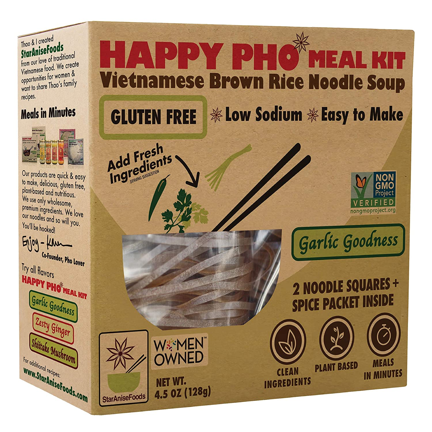 Star Anise Foods Gluten Free Asian Noodles, Brown Rice Noodle Pho Kit, Quick Meals, Pad Thai Meal Kit Alternative, Instant Meal, Perfect for Pho Soup, Stir Fry or Salads, Pack of 6 (12 servings)