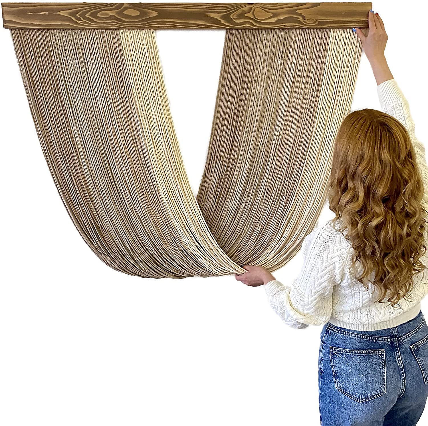 46 L x 34 H Macrame Wall Hanging, Boho Room Decor, Wall Decorations for Living Room, Bedroom Wall Decor Above Bed, Aesthetic Room Decor, Wall Art, Boho Wall Decor, Tapestry for Bedroom