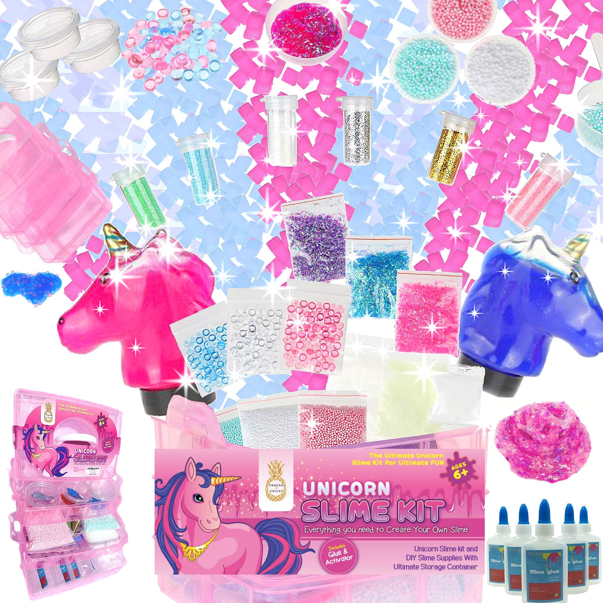 Unicorn Slime Kit for Girls- Slime party Supplies|NOW 50% OFF LIMITED TIME! |HUGE 3-IN-1 NON-TOXIC SET| DIY Slime kit with Jelly Cubes, clear Glue, foam balls, Make unicorn poop, Rainbow Slime