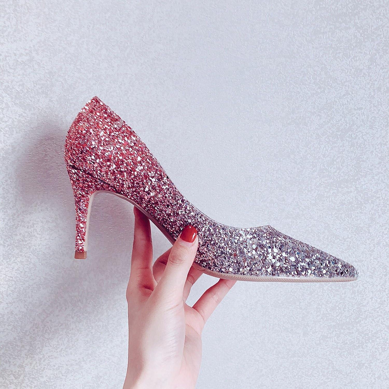 Xue Qiqi Zapatos de la Corte Zapatos de Novia de Plata Zapatos de Boda Zapatos de Mujer Solos Zapatos de Tacones Altos Femeninos Femeninos Finos con 39, Rosa 6CM 39|Pink Silver 6C