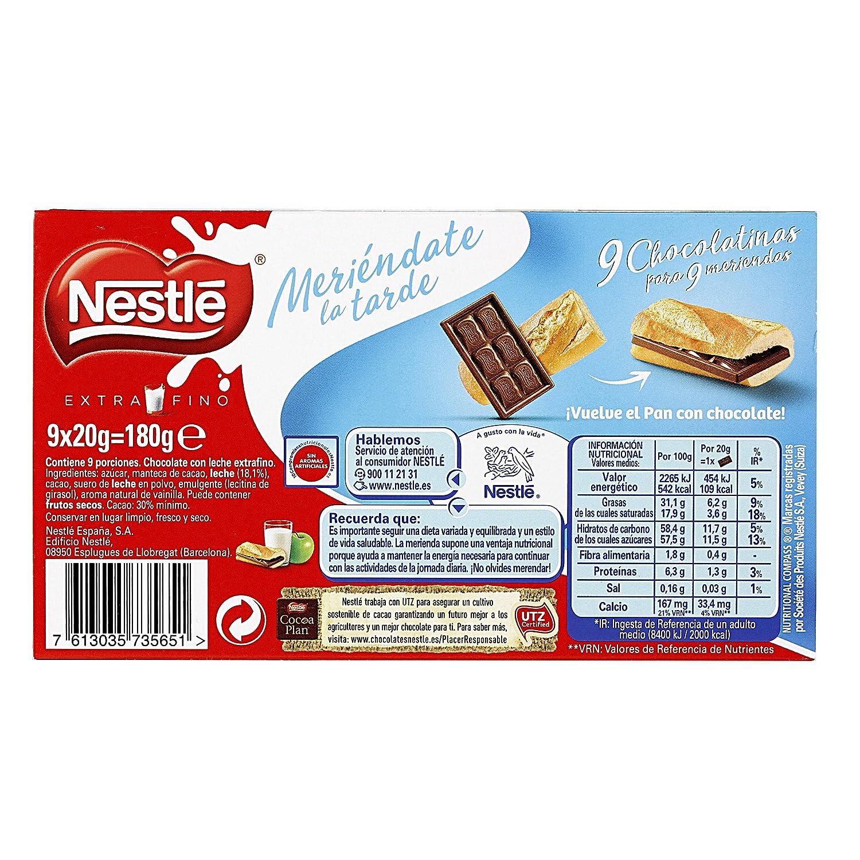 Nestlé Extrafino Choco Meriendas Chocolate con Leche Estuche - 180 gr: Amazon.es: Alimentación y bebidas