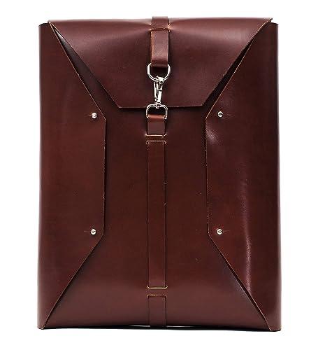 Mochila cuero para portátil, diseño único, elegante y práctico para hombre, minimalista,
