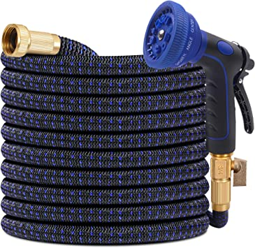 Brass Retractable Watering Blue 30 ft Expandable Flexible Garden Water Hose
