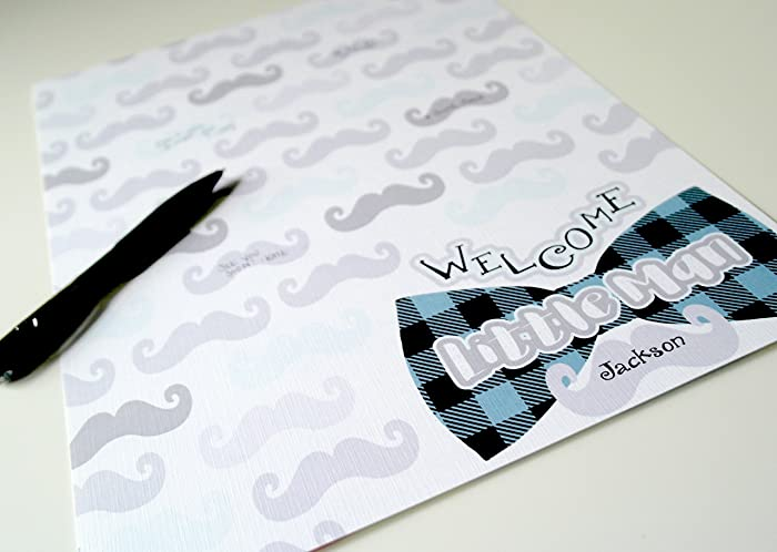 Little Man Baby Shower Guest Sign In, Mustache And Bowtie Baby Boy Shower  Decorations