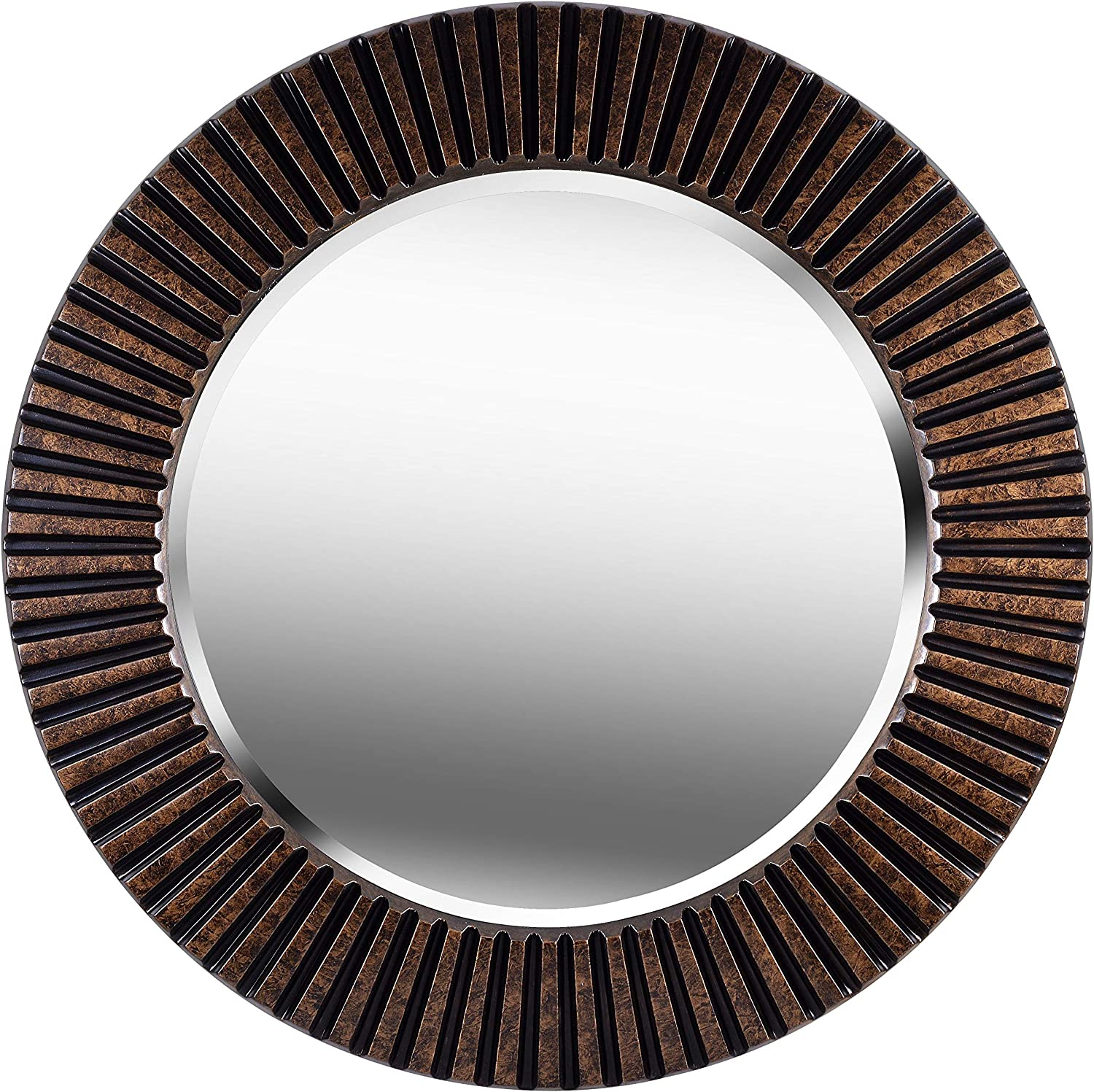 Kenroy Home Kenroy 60021 Transitional Wall Mirror from North Beach Collection in Bronze/Dark Finish, 34 Inch Diameter