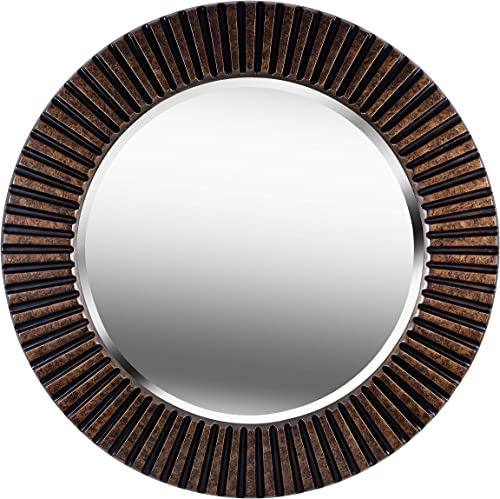 Kenroy Home Kenroy 60021 Transitional Wall Mirror from North Beach Collection in Bronze Dark Finish, 34 Inch Diameter