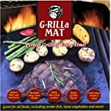 "G-RILLa Grill Mat (3 Mats) Premium Non-Stick BBQ Grill Mats, BBQ Accessories, PFOA Free, Works on Gas, Charcoal, Electric Grill, Smokers.Reusable-Reversible 13 X 15.75"", Extended Warranty"