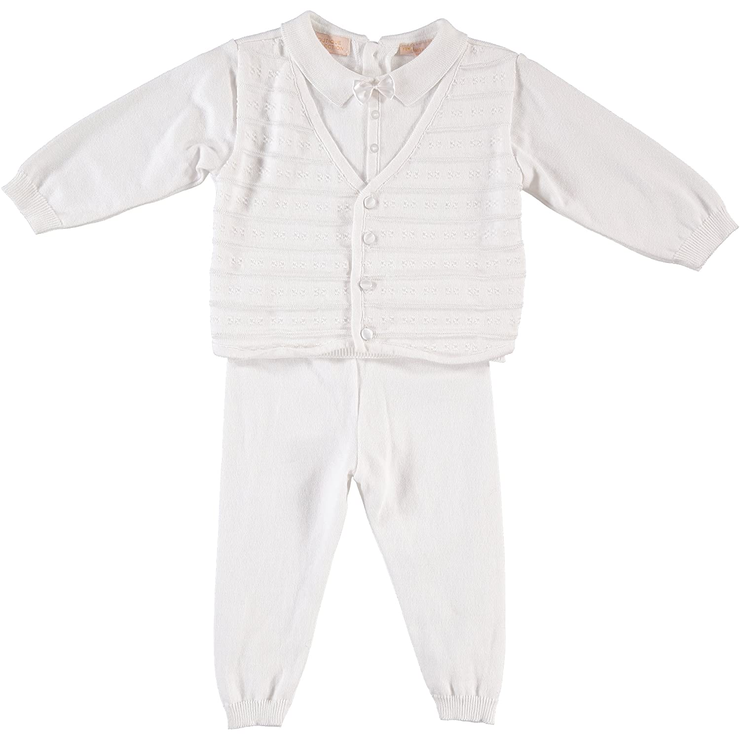 Baby Boys' 2 Piece Christening Outfit with attached Vest and Hat