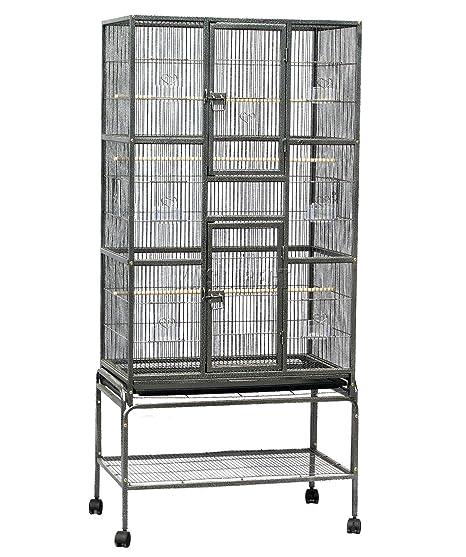 FoxHunter Soporte para jaula de pájaros de metal grande para loros, guacamayos,