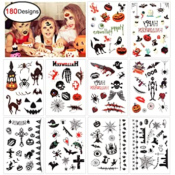 4158a50cd Konsait Halloween Temporary Tattoo for Kids (180 Designs), Children Party  Tattoos for Boys