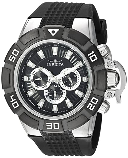 Amazon.com: Invicta Mens I- I-Force Stainless Steel Quartz Watch with Silicone Strap, Black, 22 (Model: 24385: Invicta: Watches