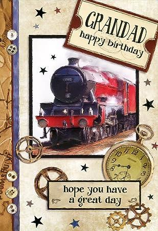 Abuelo feliz cumpleaños - rojo vapor tren motor de/tarjeta ...
