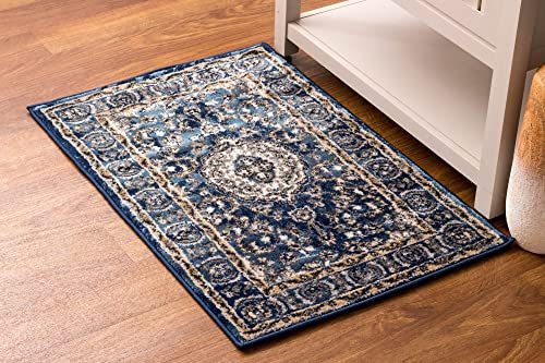Super Area Rugs Oriental Accent Rug Mat Small Throw 2×3 Rug Pretty Medallion Distressed Vintage in Blue Ivory, 2 x 3