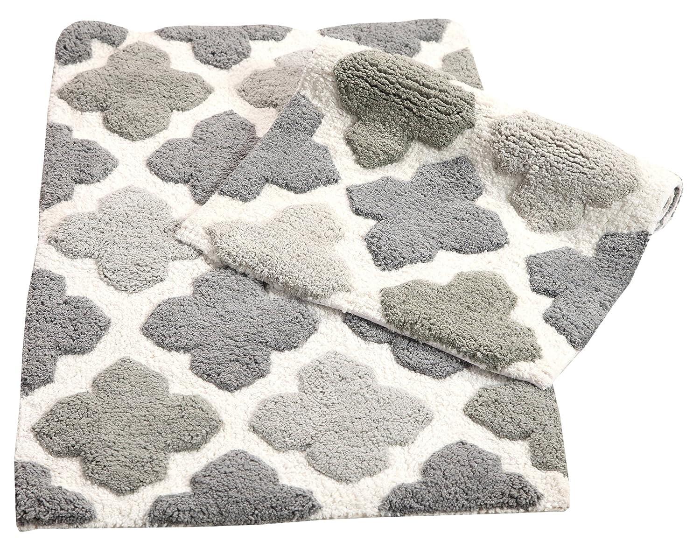 "Chesapeake Merchandising Inc. Alloy 2 Piece Bath Rug Set-Grey, 21"" x 34 & 17"" x 24"""