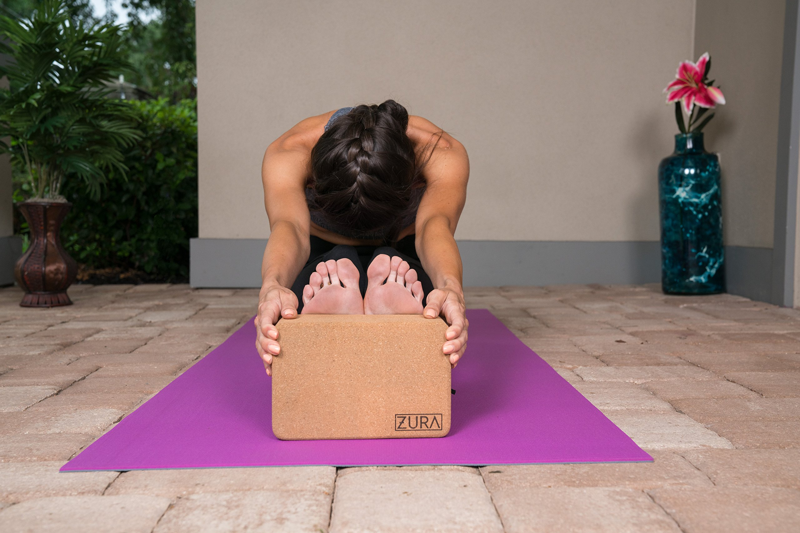 ZURA Cork Yoga Blocks Brick - Natural, Eco-Friendly, Non-Toxic - Best Yoga Props, Tools, Pilates