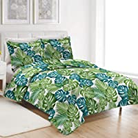 ARL Home Full Queen Size Tropical Bedding Leaves Bedspread Plant Quilt Set