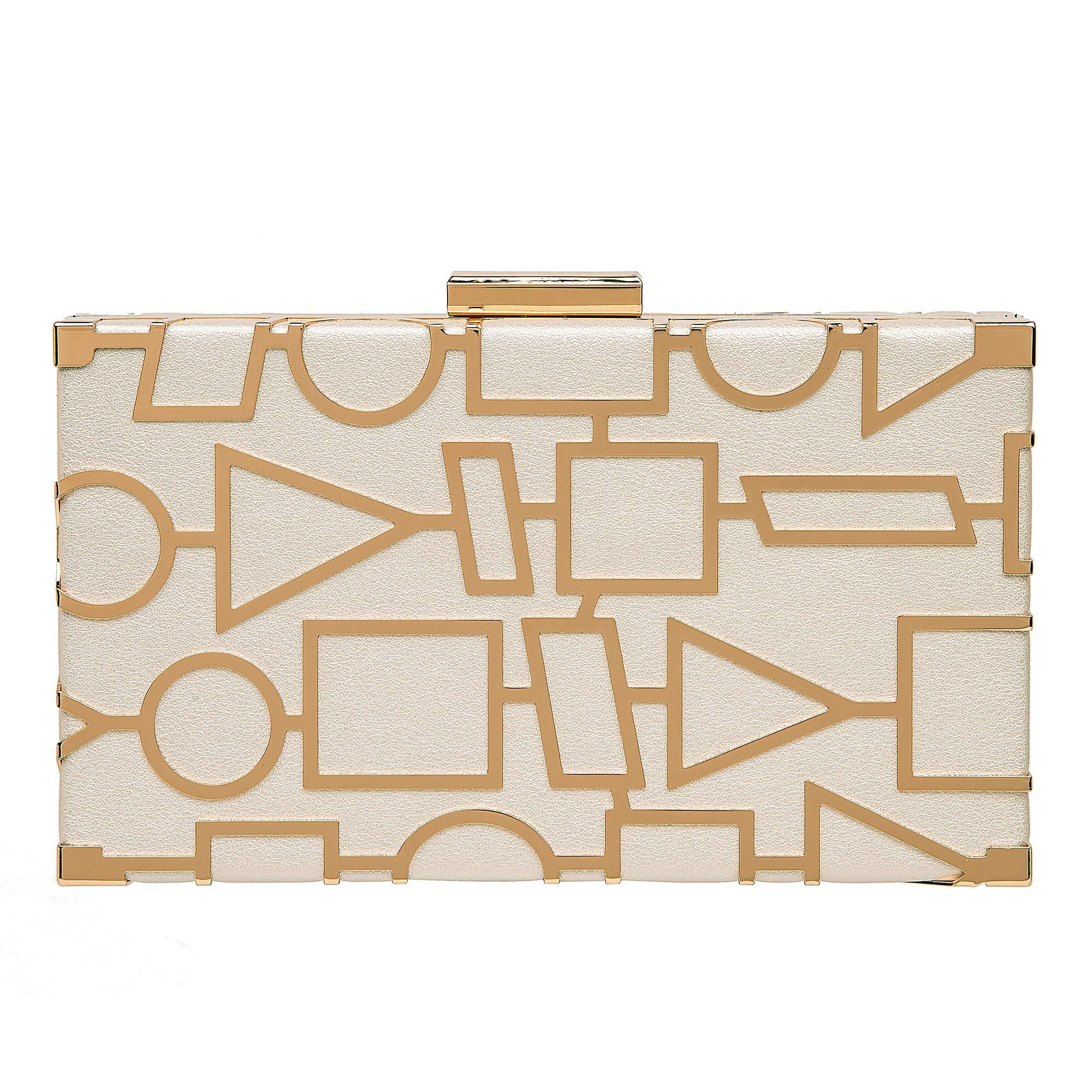 Women Evening Clutch Bag Leather Clutch Purse Exquisite Metal Hollow out Design Evening Purse