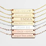 Personalized Necklace Silver Name Plate Bar Gold Necklace Custom Silver Necklace Graduation Gift Wedding Bridesmaid Gift Mom