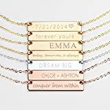 Personalized Necklace Silver Name Plate Bar Gold Necklace Custom Silver Necklace Graduation Gift Wedding Bridesmaid Gift…