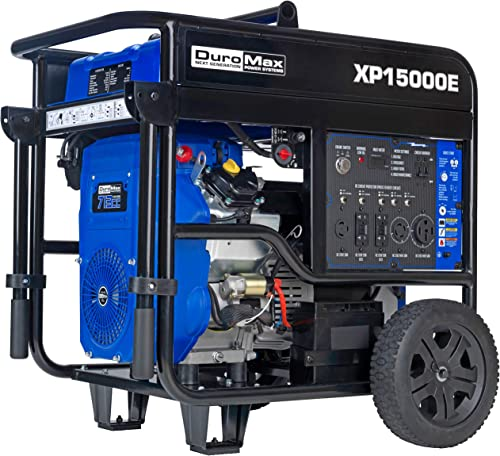 DuroMax XP15000E Portable Generator, Blue Black