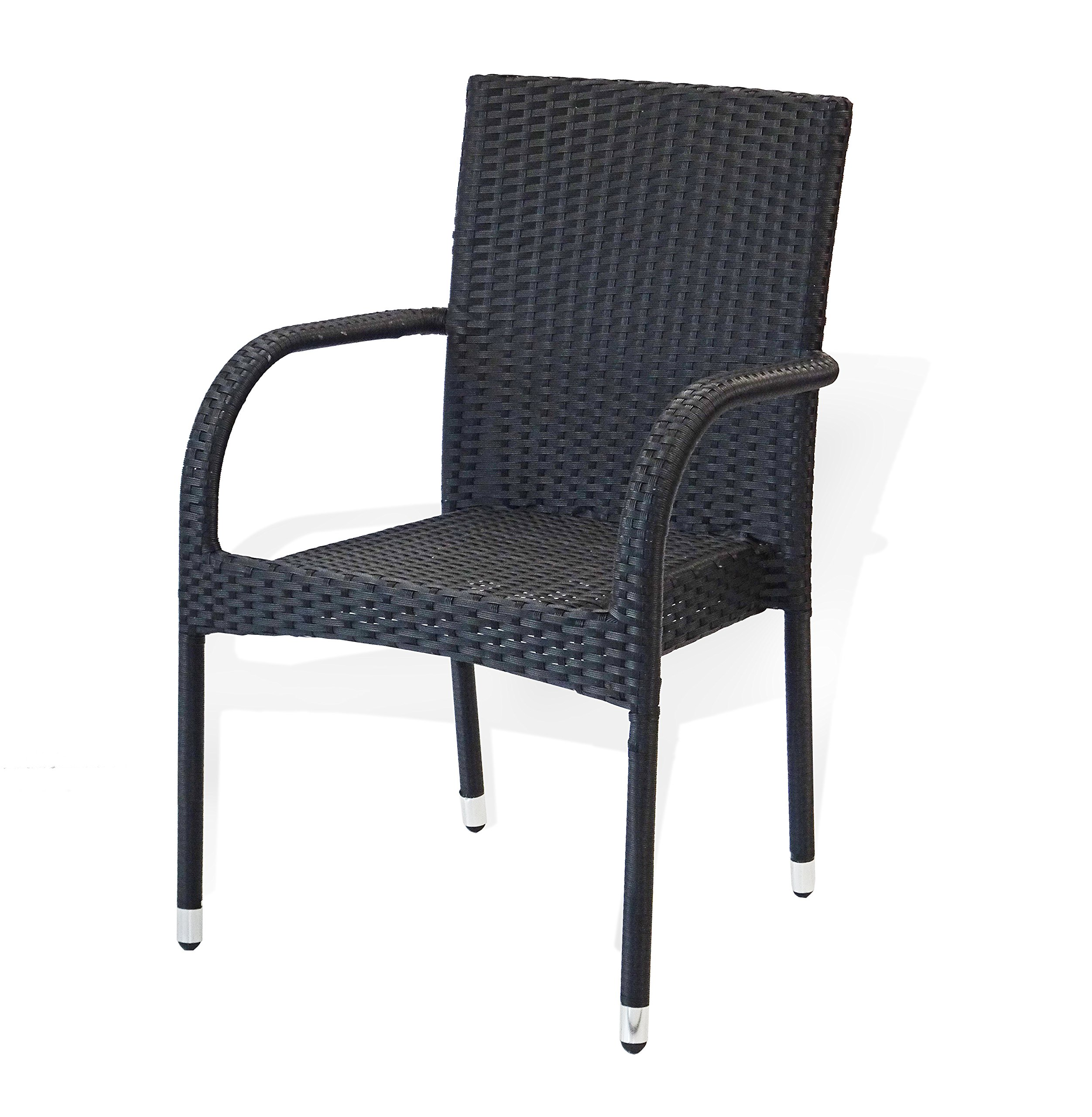 SunBear Furniture Patio Outdoor Armchair Garden Wicker Backyard Modern, Black