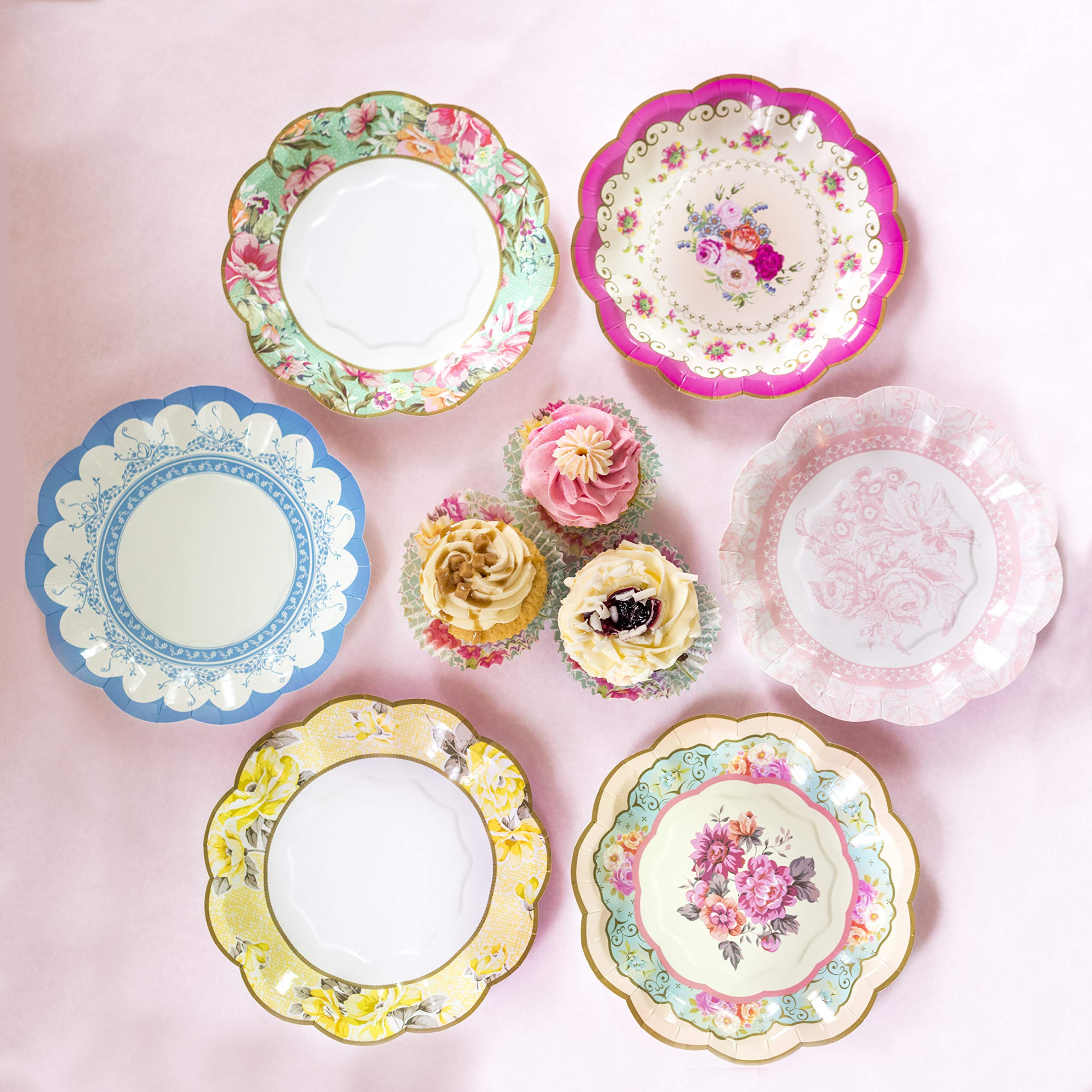 Talking Tables Truly Scrumptious Vintage Floral Small 6.75 Paper Plates in 6 Designs for a Tea Party or Picnic, Multicolor (24 Pack)