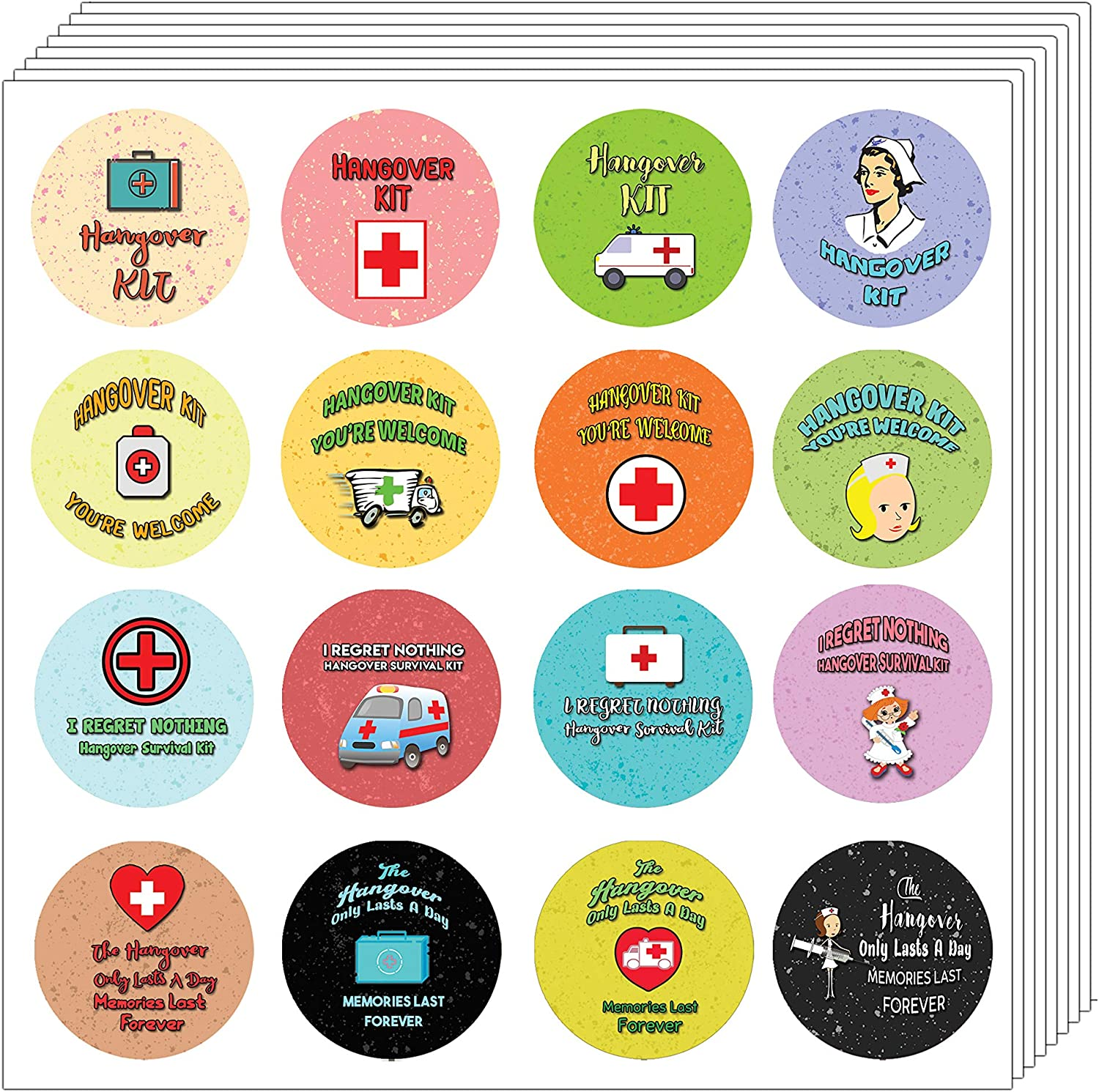 Creanoso Hangover Kit Stickers - (5 Sheets) - Round Circle Survival Recovery Bachelorette Party - Favor Bag Gift Label - Envelope Seal Package Sticker