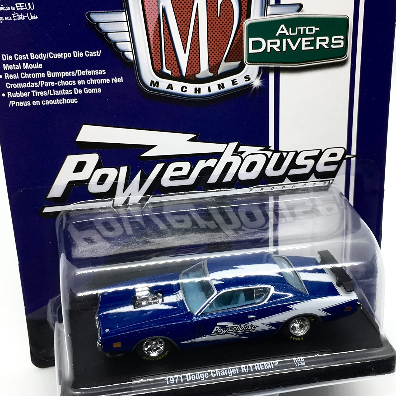 Amazon.com: M2 Machines 1971 Dodge Charger R/T HEMI (Powerhouse) Dark Blue Metallic w/Gloss White Stripe Auto-Drivers Release 48 - Castline 2017 Special ...