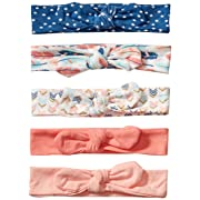 Hudson Baby Baby Girls' Cotton Headbands, Feathers 5 Pk, 0-24 Months