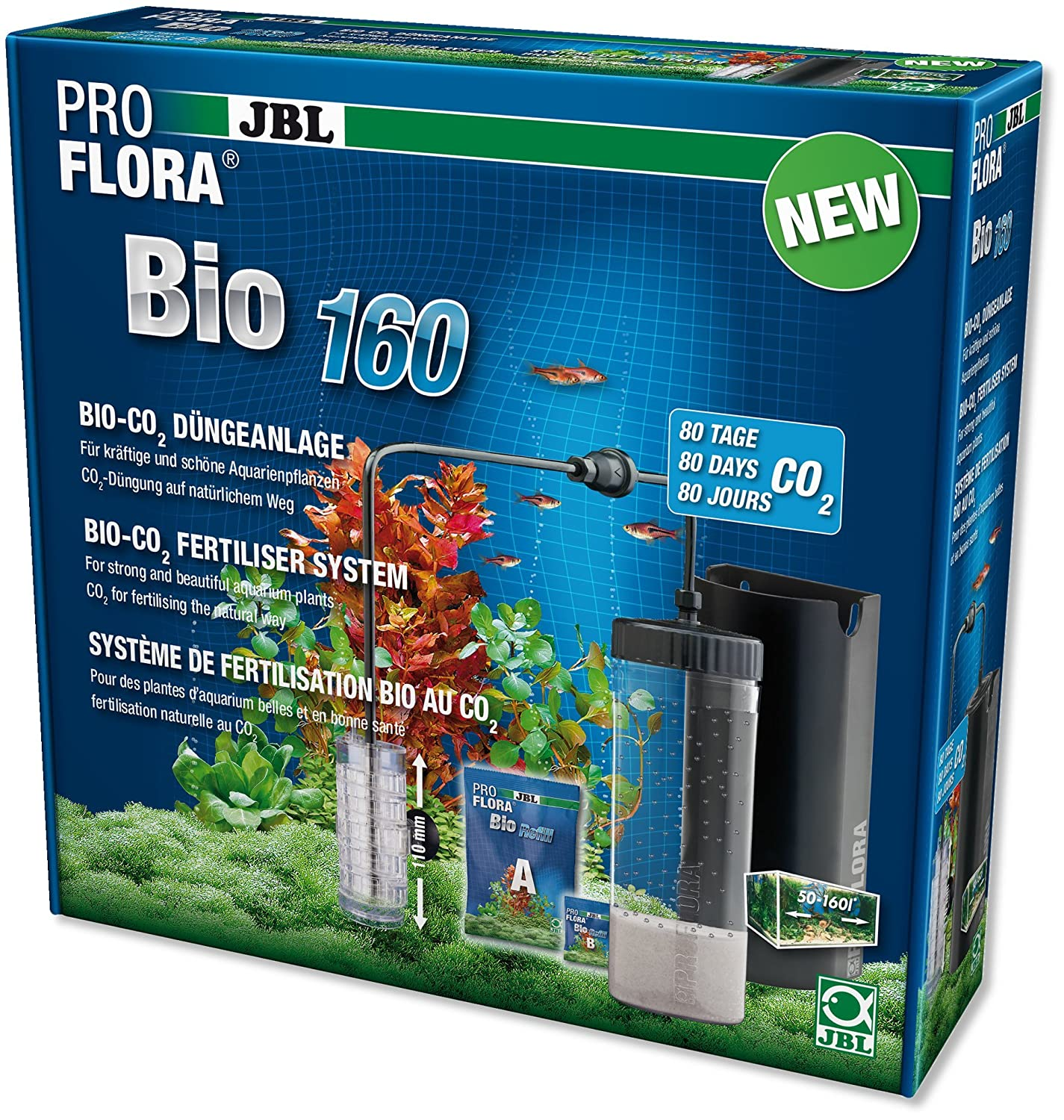 JBL ProFlora bio160 2 (BioCO2 Usage multiple) - Système de fertilisation bio au CO2 à diffuseur extensible 6444600