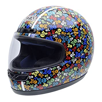 NZI 050268G410 Class Jr Graphics Pirates Casco de Moto, Calaveras de Colores, Talla 54