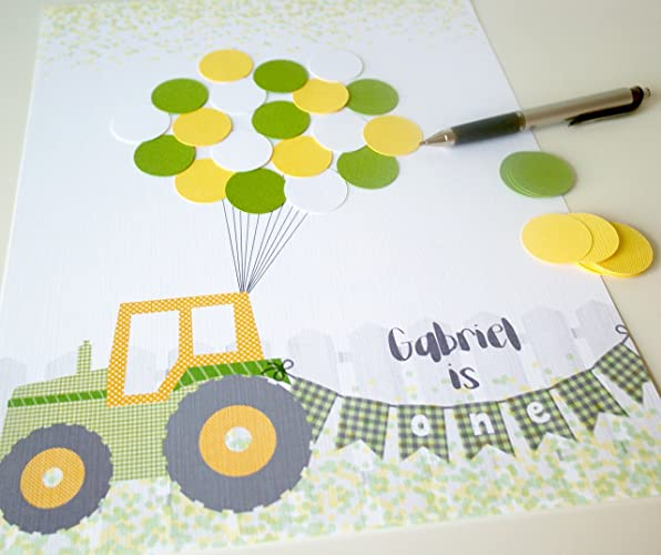 Tractor Theme Boy 1st Birthday Party Decor Yellow And Green One Year Old Guest Book