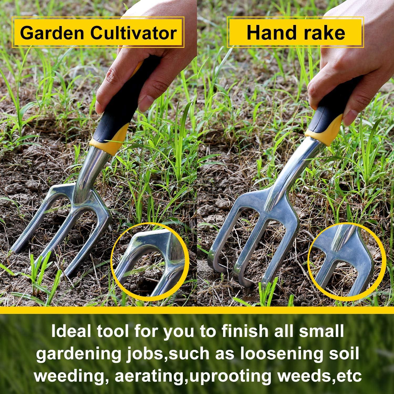 Loosening Soil 6Pcs Aluminum Heavy Duty Garden Hand Tool Kits for Weeding Digging Transplanting and More LARAH Garden Tool Sets