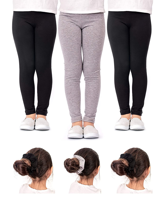 e0e9334acfa7b Amazon.com: DEAR SPARKLE Girls' Leggings 3 Pack Girl Stretch Kids Toddler  Pants + Hair Ties (G1): Clothing