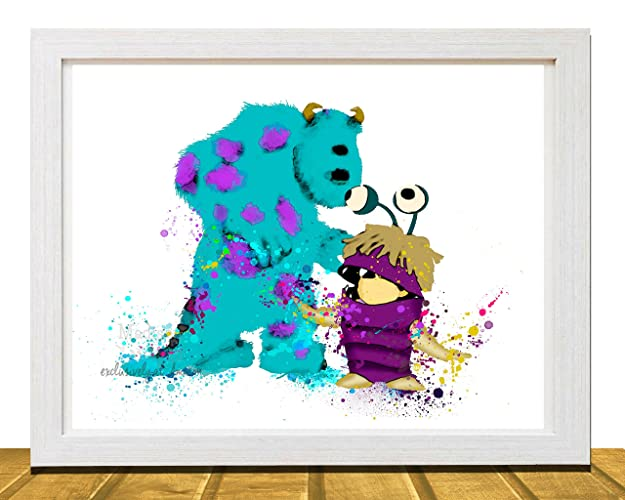 Amazon.com: Disney Art, Monsters Inc Sully and Boo, Disney Inspired ...