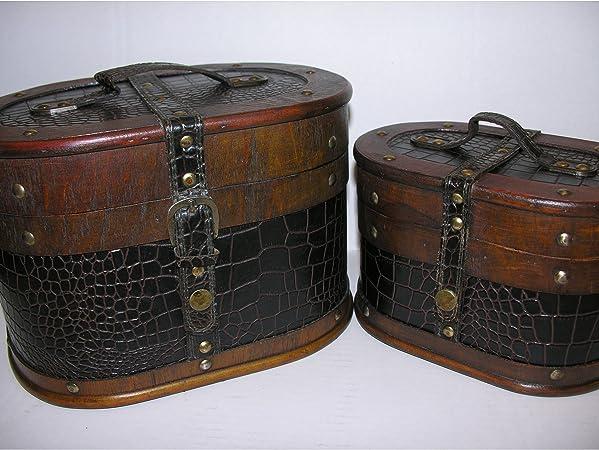 Nostalgischer ovaler Hutkoffer 28cm Holz Leder Hutschachtel Antik-Stil Truhe Box
