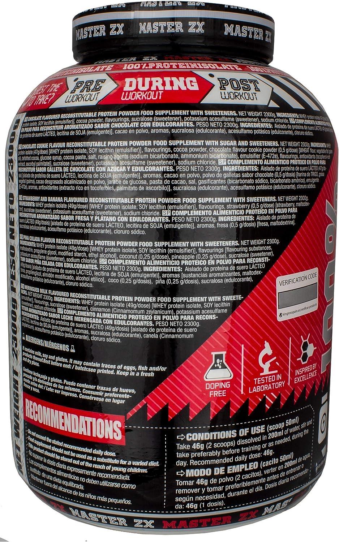 PROTEINA WHEY ISO | Master ZX - 2,3 KG - PROTEINA ISOLADA | proteína en polvo, máxima pureza (Doble Choco)