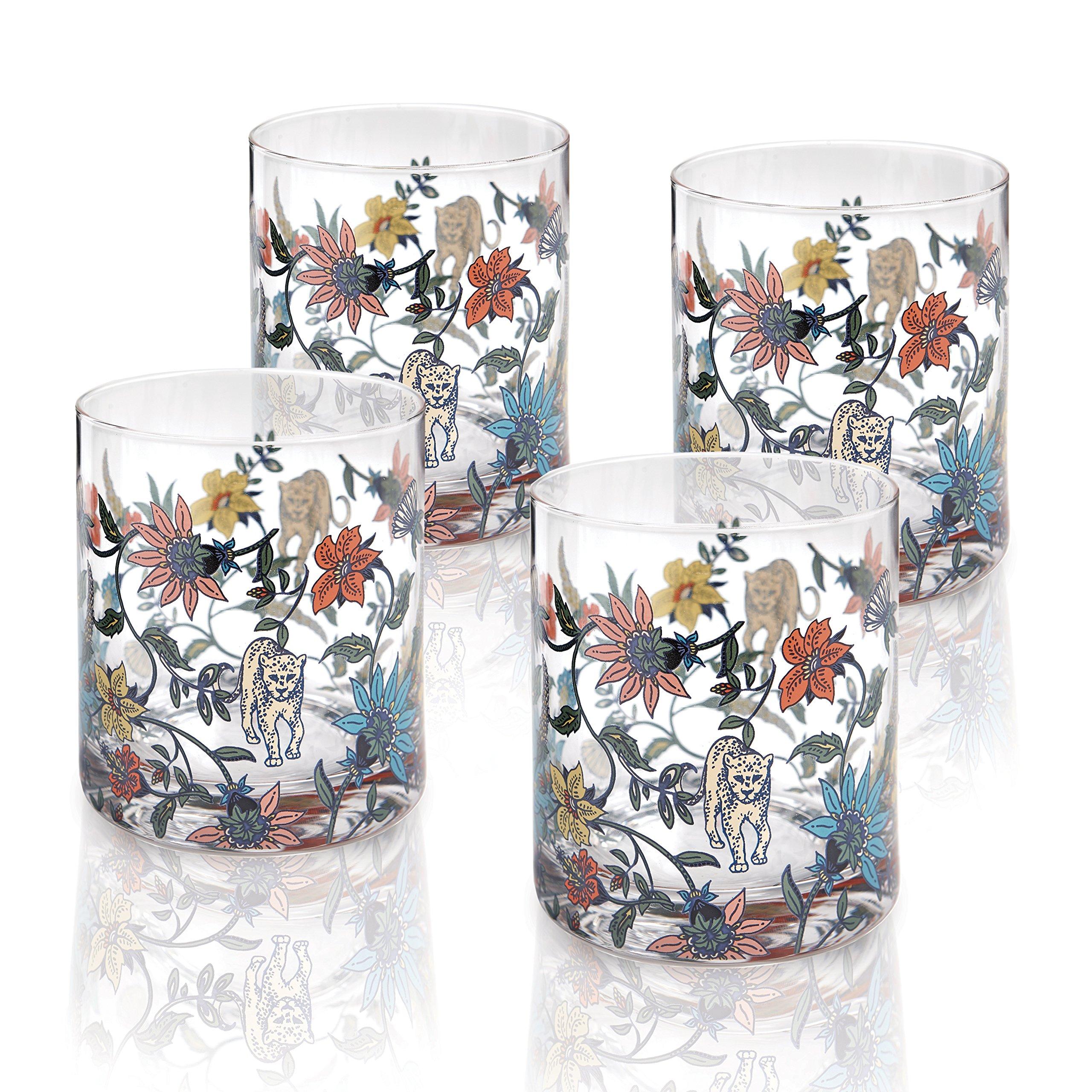 Botswana Botanical Old Fashioned Glass Set of 4 giftboxed