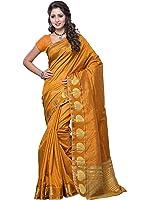 Mimosa Women's Tassar Silk Saree (3032-Gold,Gold,Free Size)