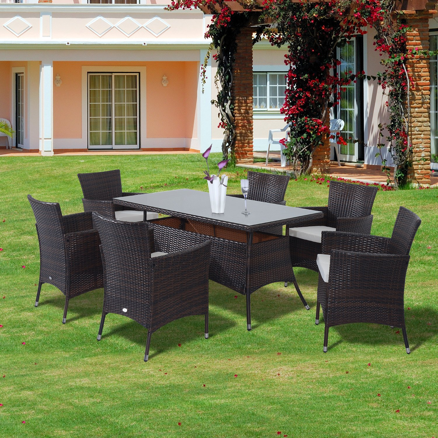 savannah rattan round glass dining table and 6 seat chair set