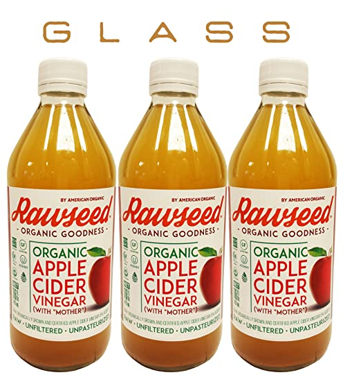 Rawseed Organic Apple Cider Vinegar 3 Pack 16 Oz Glass Bottles with the Mother,Kosher