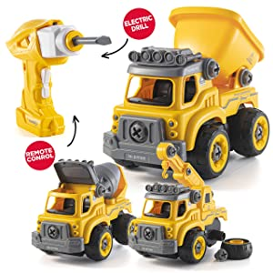 Take Apart Toys with Electric Drill   Converts to Remote Control Car   3 in one Construction Truck Take Apart Toy for Boys   Gift Toys for Boys 3,4,5,6,7 Year Olds   Kids Stem Building Toy
