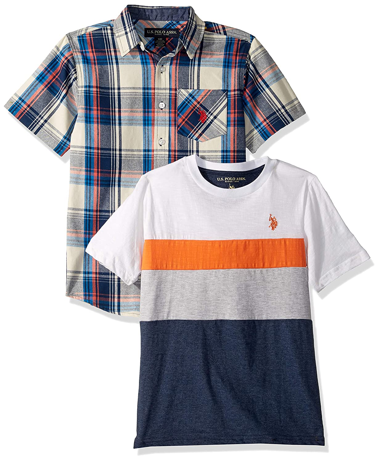 U.S Boys Short Sleeve Button Down Shirt 2 Piece Set Polo Assn