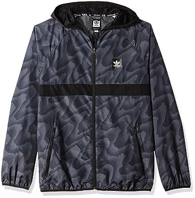 c84791d22 adidas Originals Men's Skateboarding Blackbird Warp Print Wind Jacket, Dark  Solid Grey/Black XS