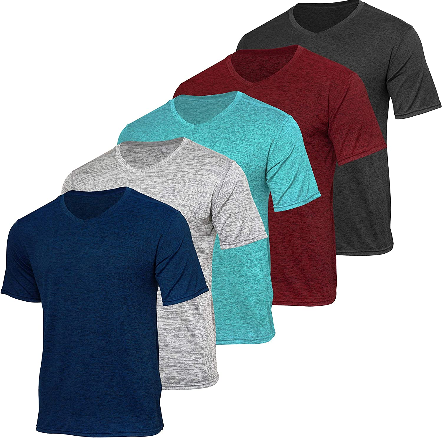 5 Pack: Men's V-Neck Dry-Fit Moisture Wicking Active Athletic Tech Performance T-Shirt: Clothing